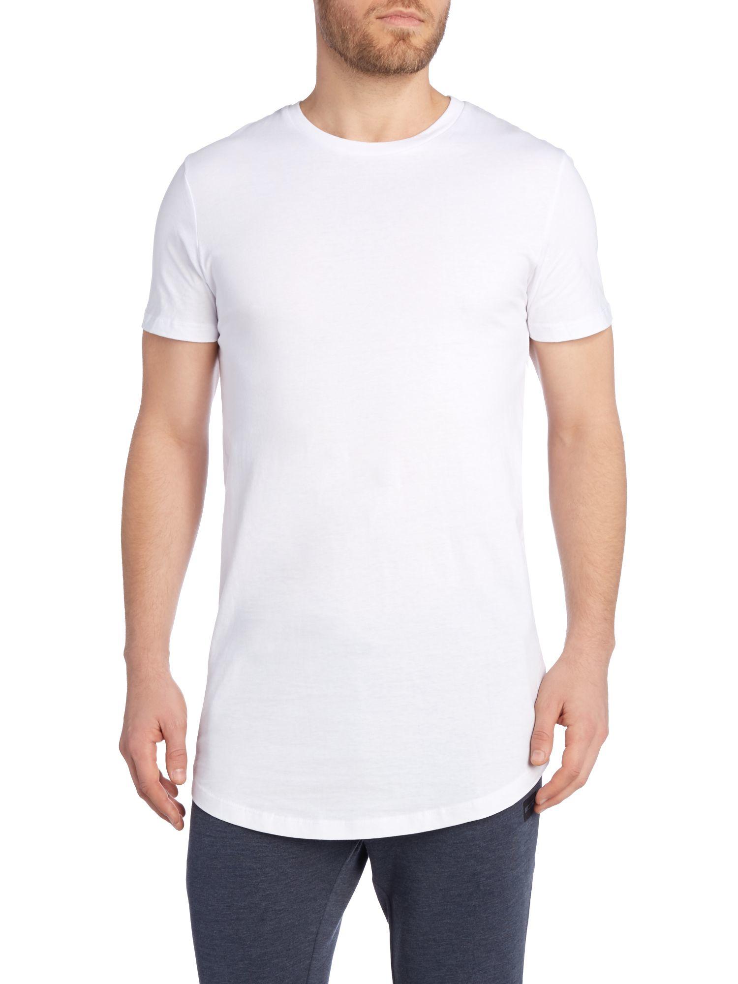 Jack jones long line plain short sleeve t shirt in white for Long line short sleeve t shirt