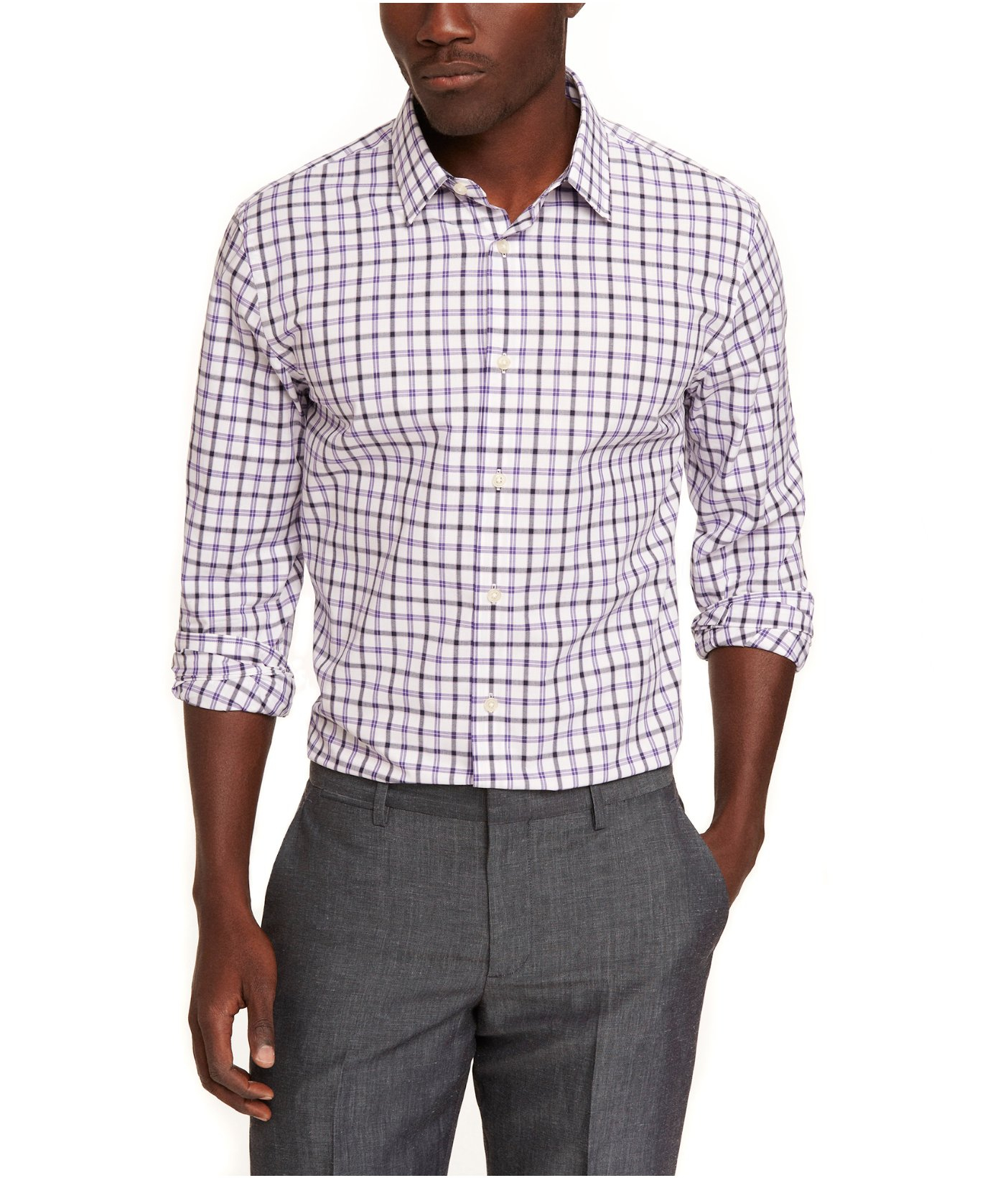 Lyst Express Fitted Plaid Dress Shirt In Purple For Men