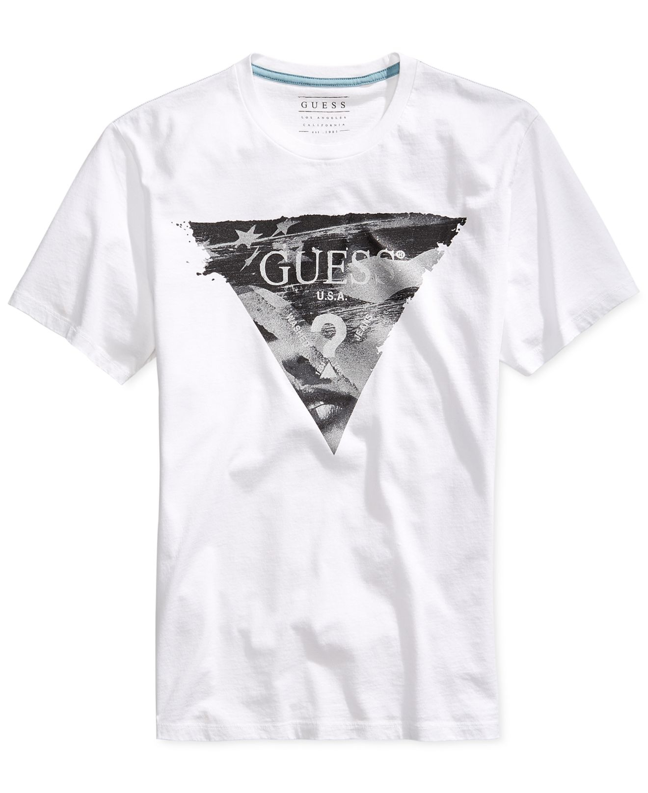 f00fc6142 Lyst - Guess America Logo T-shirt in White for Men