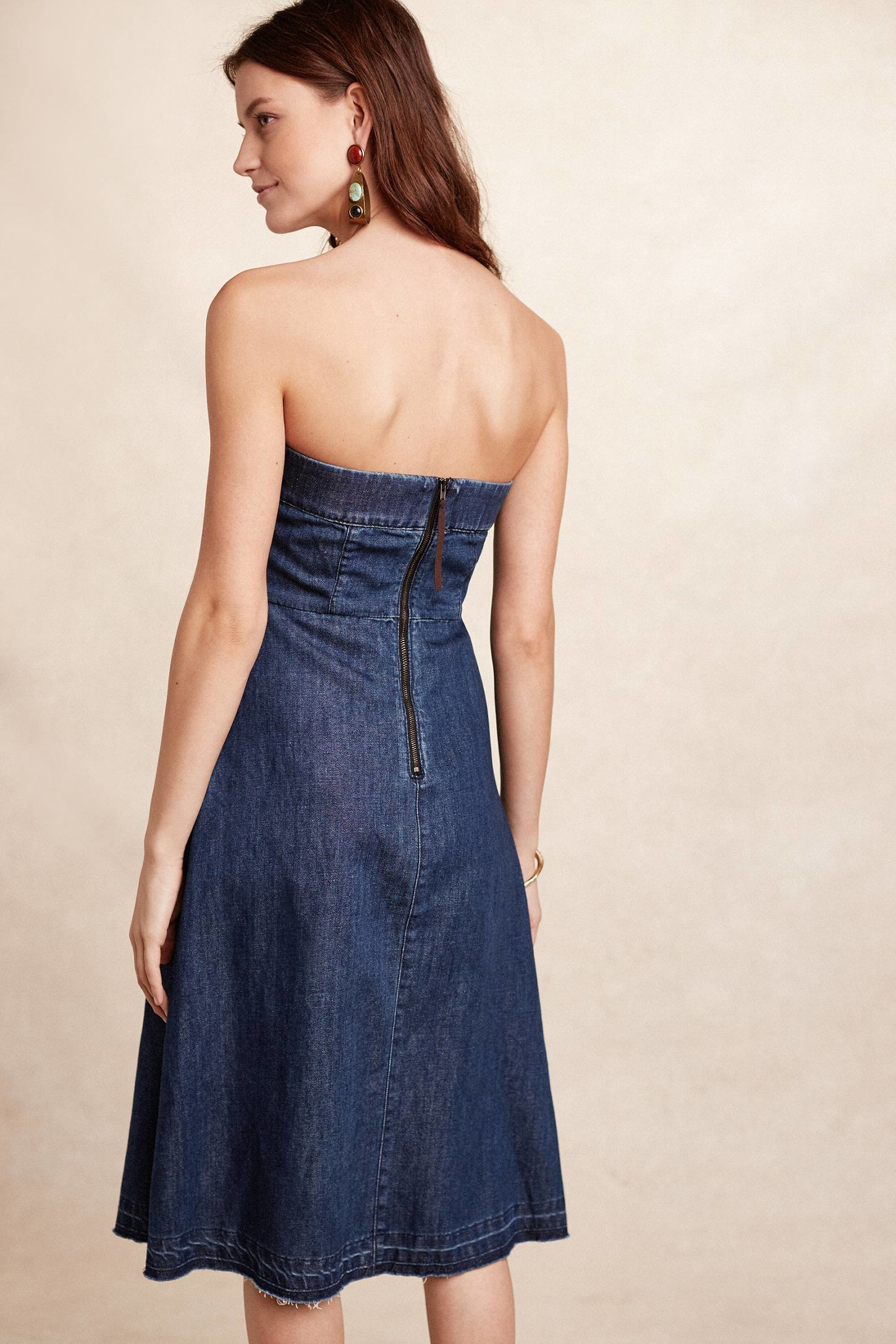 Holding Horses Strapless Denim A Line In Blue Lyst