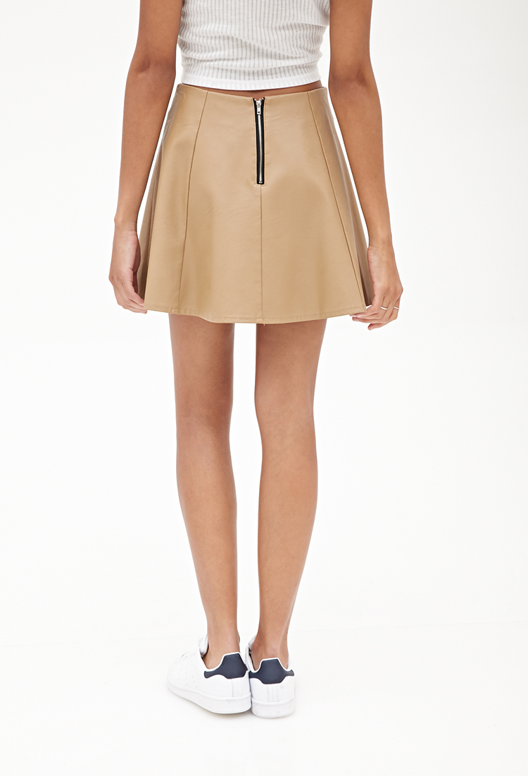 forever 21 faux leather skater skirt in brown lyst