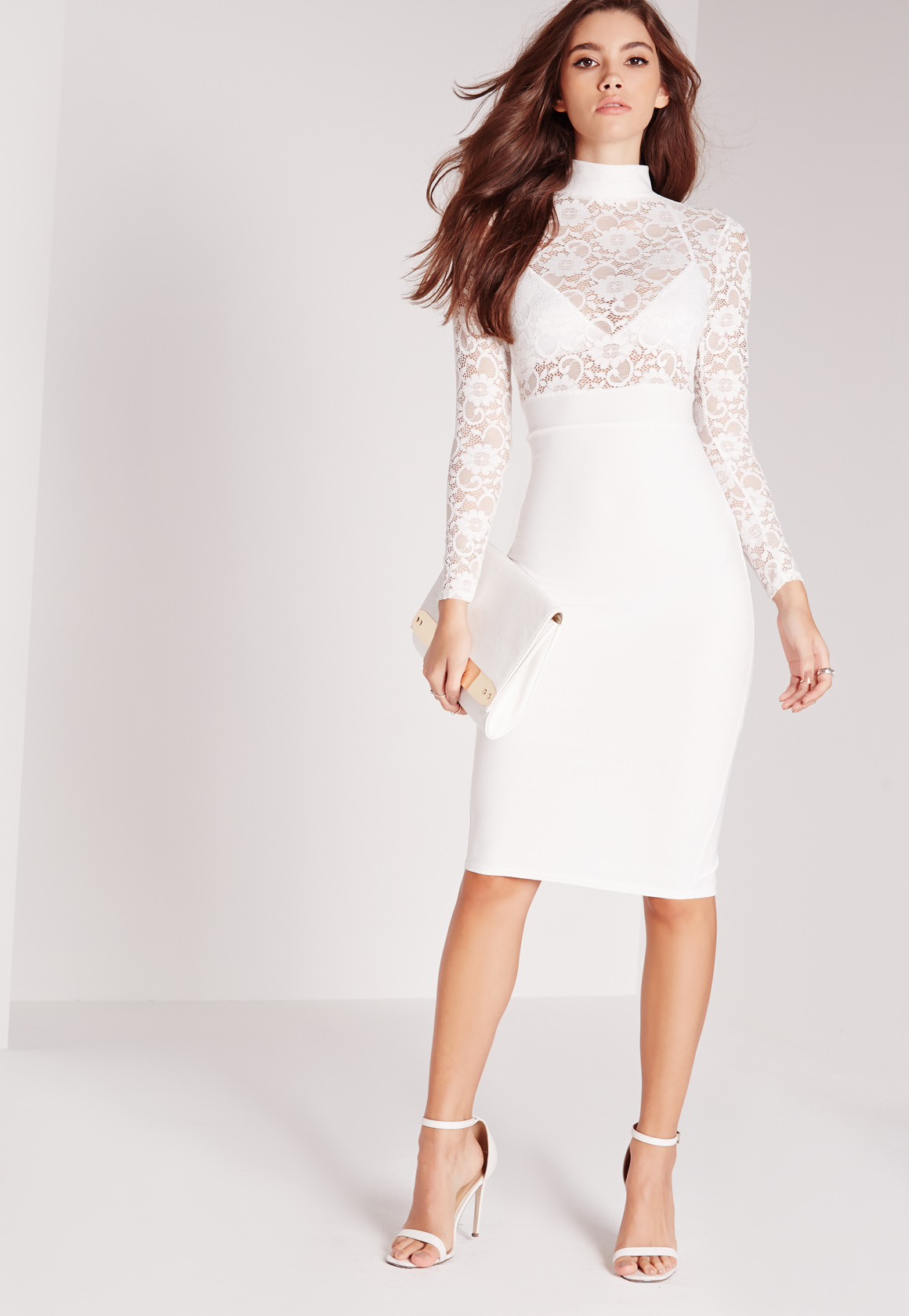 Missguided Sheer Lace Top Midi Dress White in White | Lyst