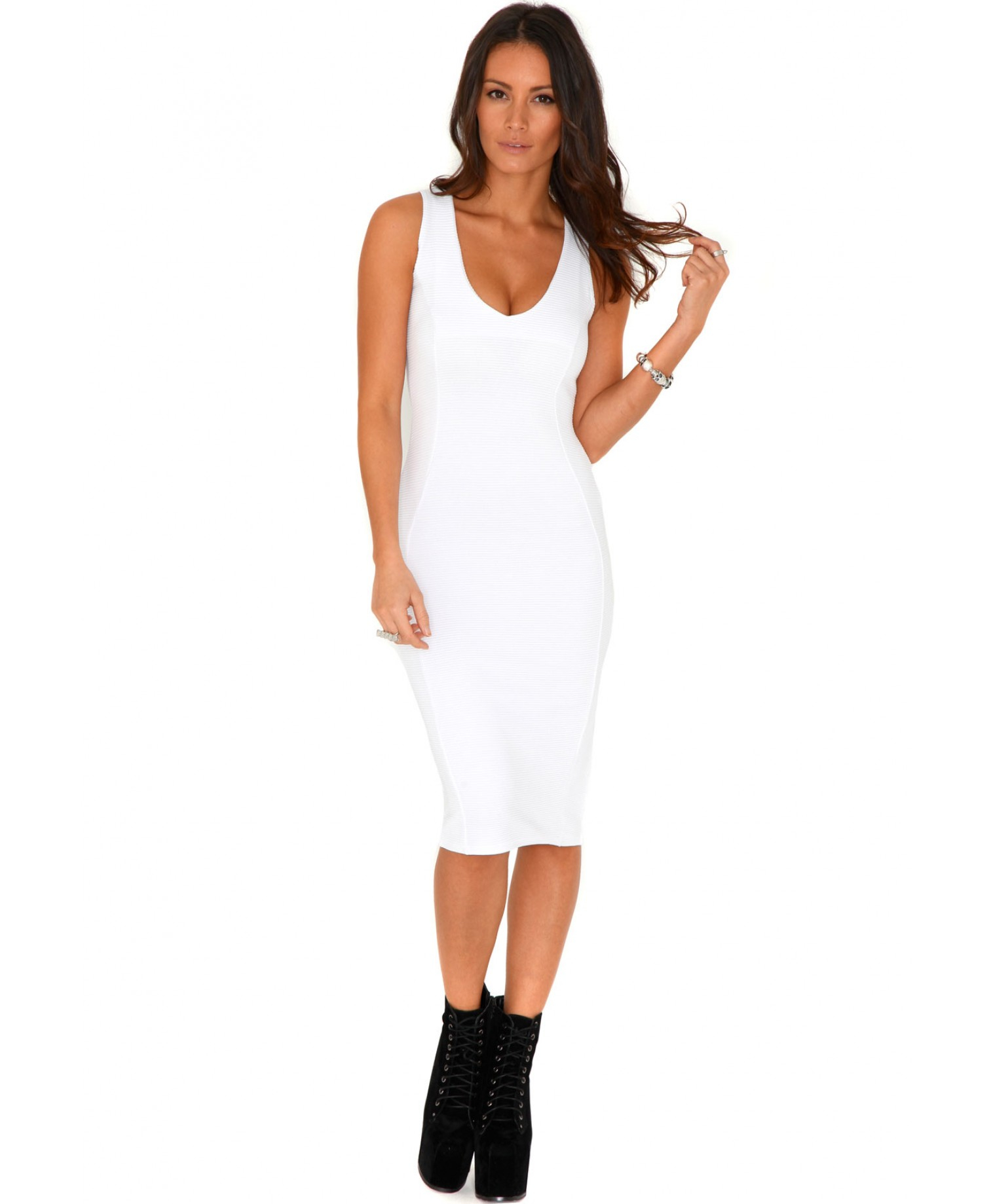 Missguided Ryana Ribbed Bodycon Midi Dress In White in White | Lyst