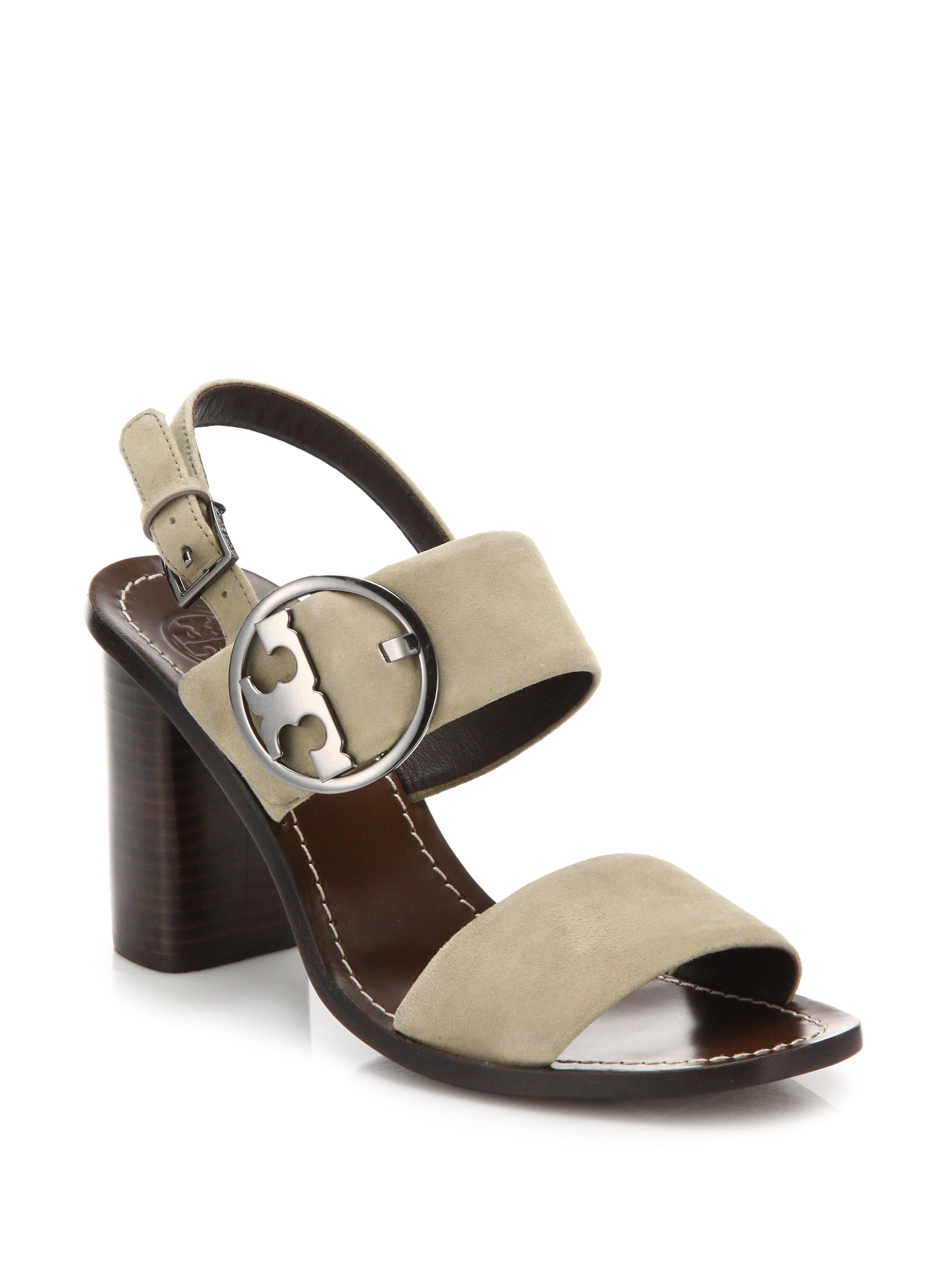 9e97127f4f12ba Lyst - Tory Burch Thames Suede Slingback Sandals in Natural
