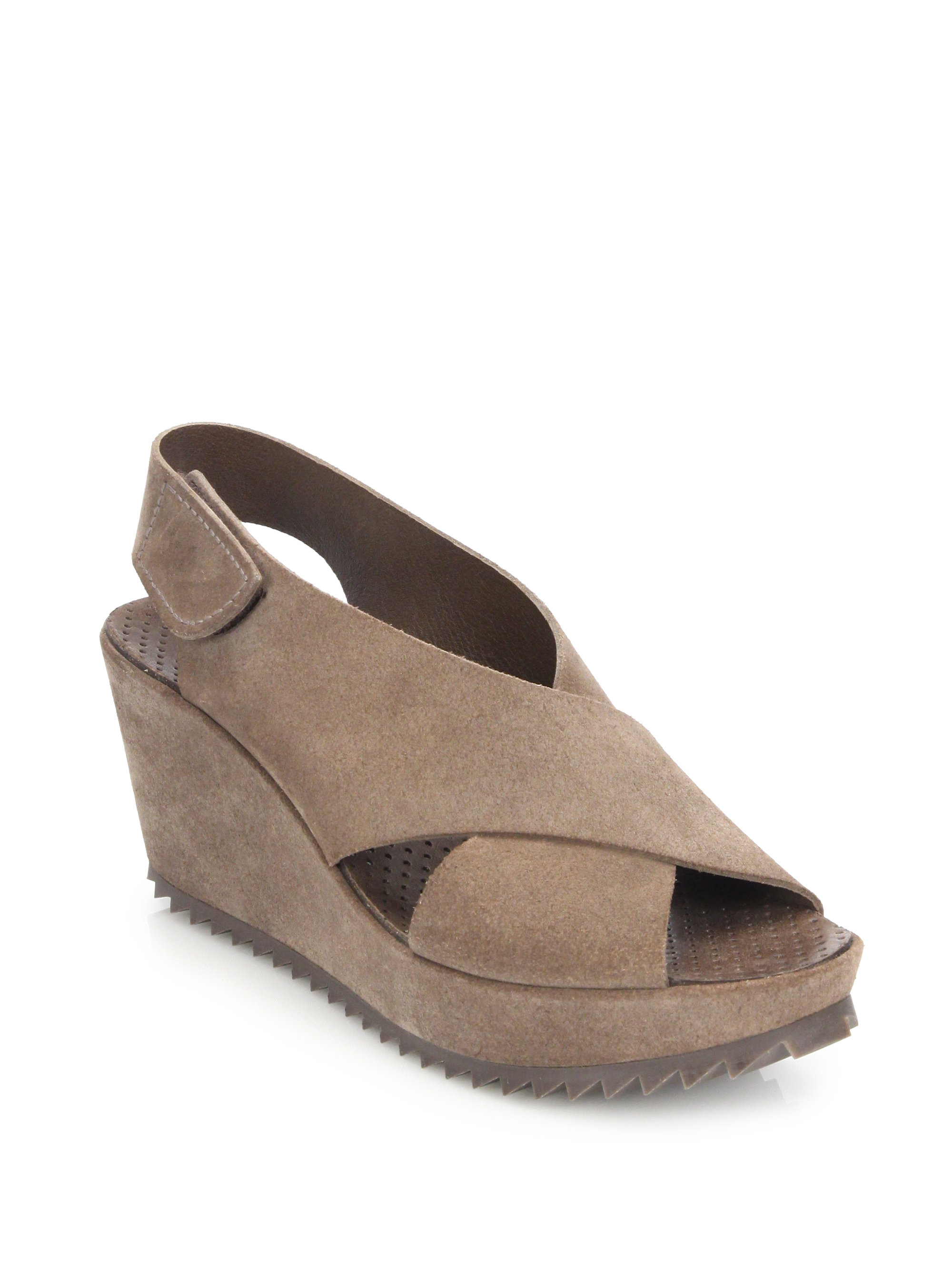 pedro garcia suede criss cross wedge sandals in brown lyst