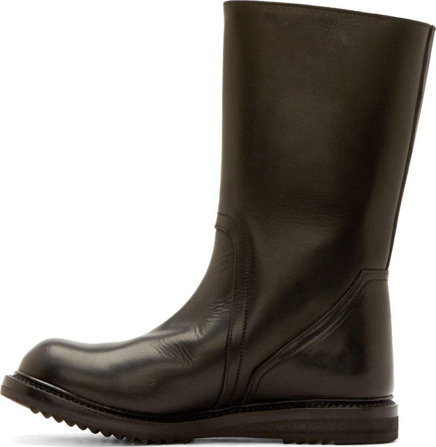 rick owens black leather plain biker boots in black for