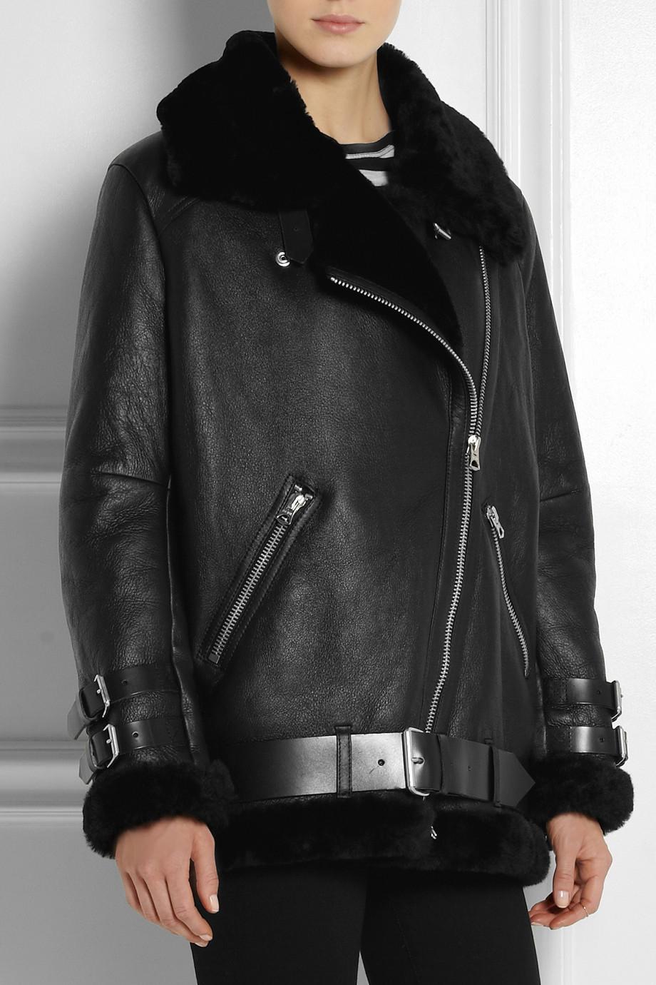 Acne studios Velocite Oversized Shearling Biker Jacket in Black | Lyst