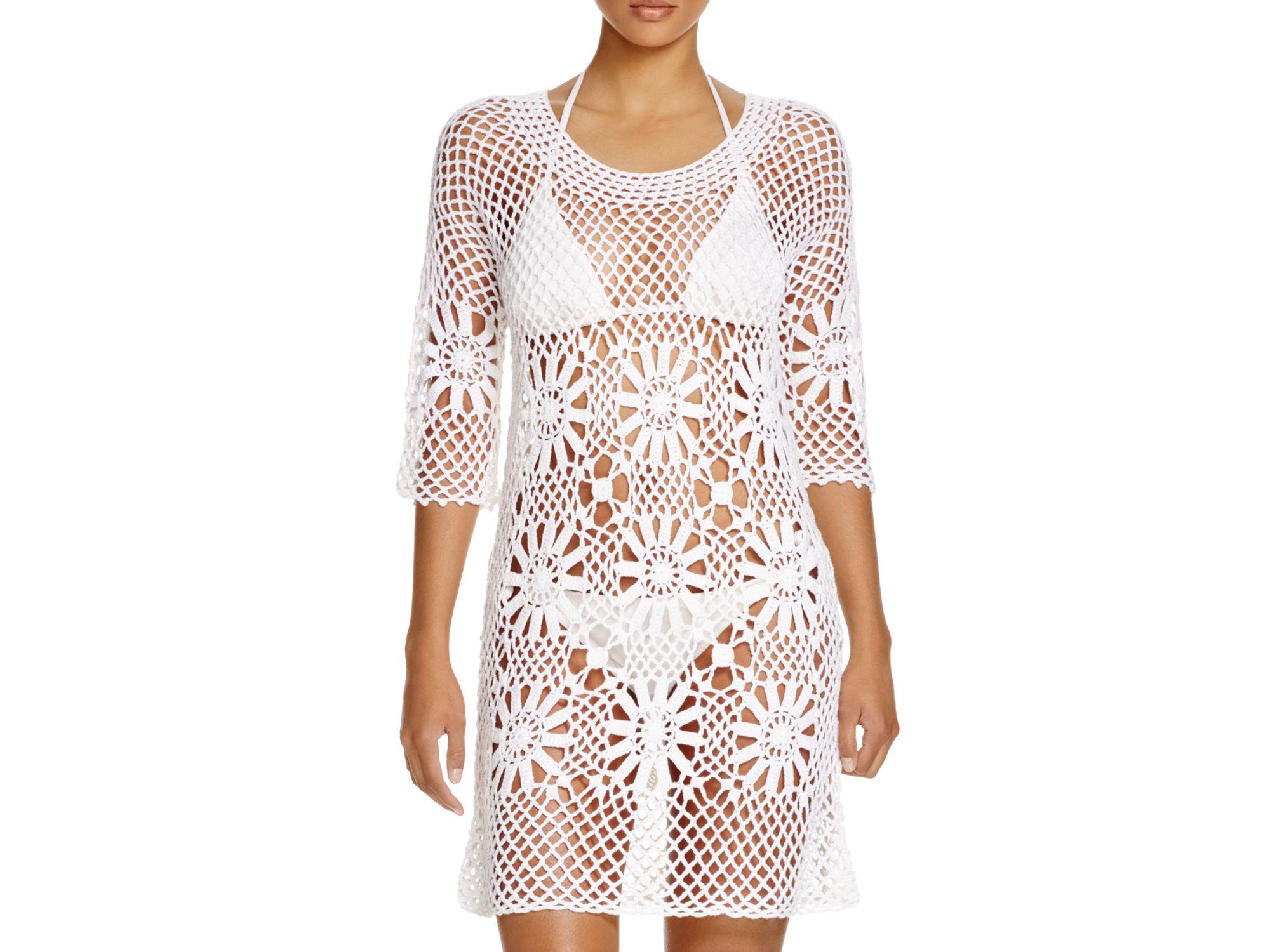 03342e049b J Valdi Crochet Flower Tunic Swim Cover Up in White - Lyst