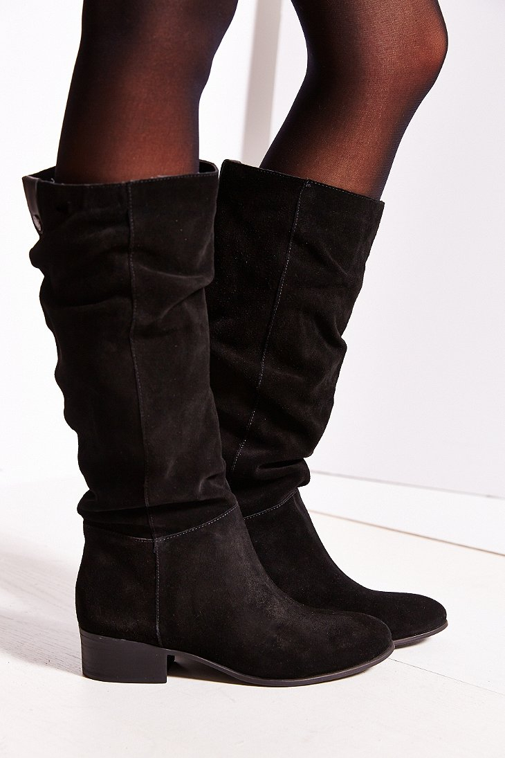 steve madden pondrosa suede boot in black lyst