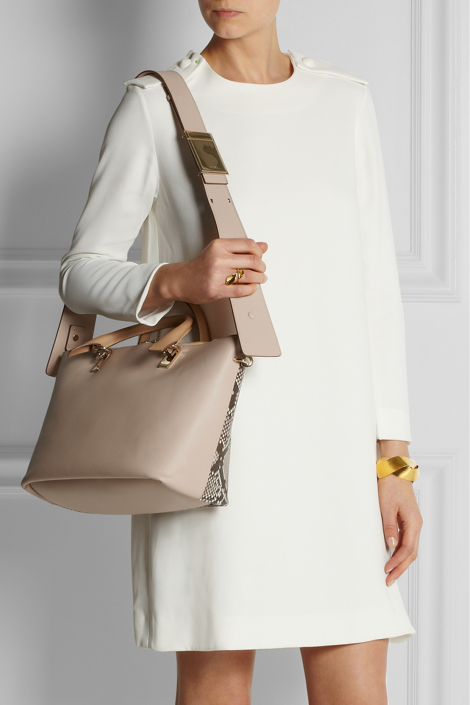 Chlo¨¦ Baylee Medium Python and Leather Tote in Beige (Neutrals) | Lyst