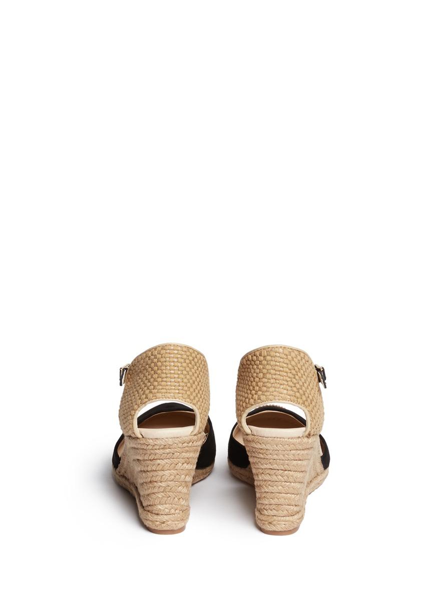 ba68217cb81a Lyst - Sam Edelman Harmony Espadrille Wedge Suede Sandals in Black