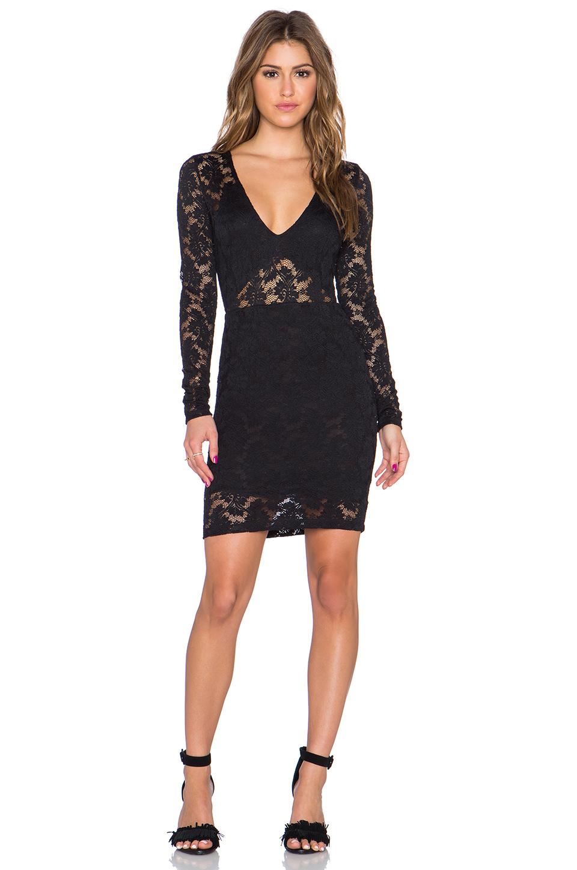 Lyst - Nightcap Deep V Cutout Dress in Black e8d72c301