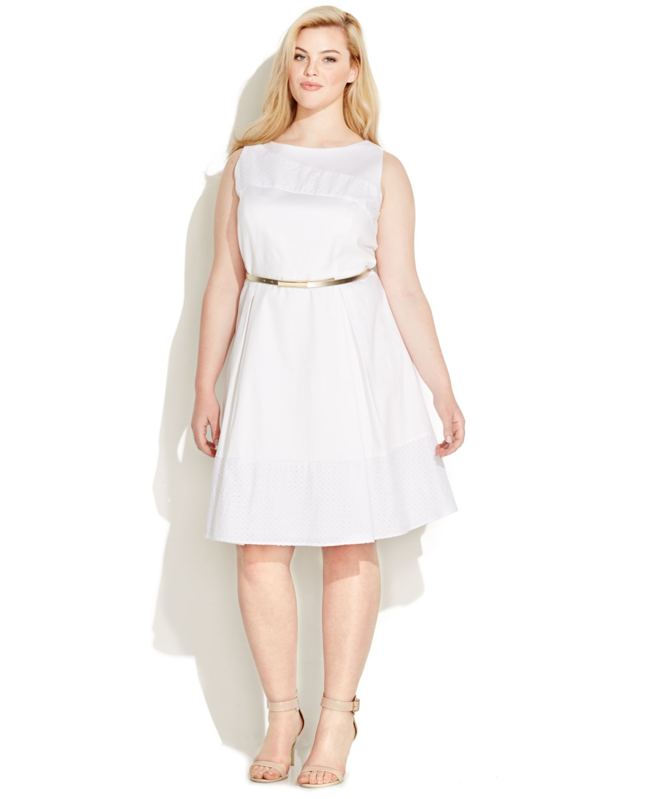 56ac884372e72 Lyst - Calvin Klein Plus Size Eyelet Belted A-line Dress in White