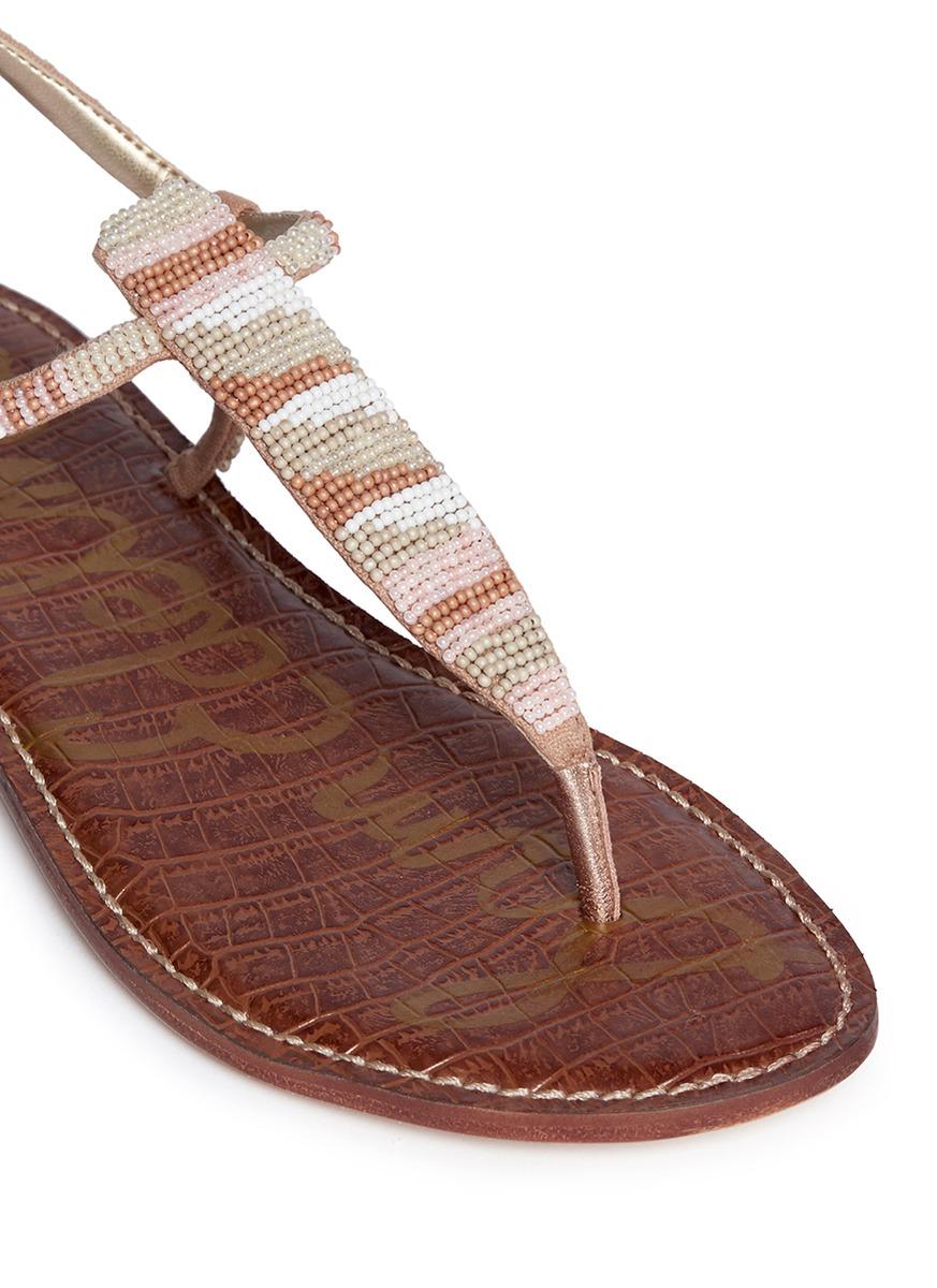 Lyst - Sam Edelman  gail  Beaded T-strap Flat Sandals 584249d969d8