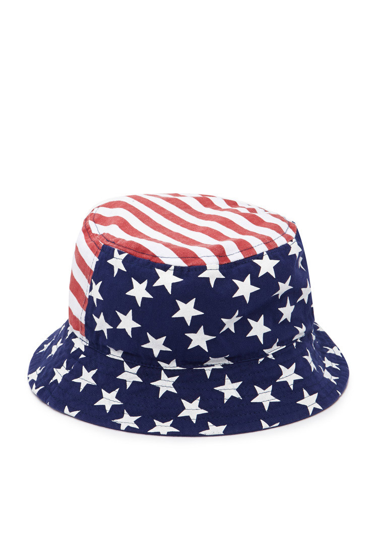 cdcc0a53379c1 Lyst - Forever 21 American Flag Bucket Hat in Blue