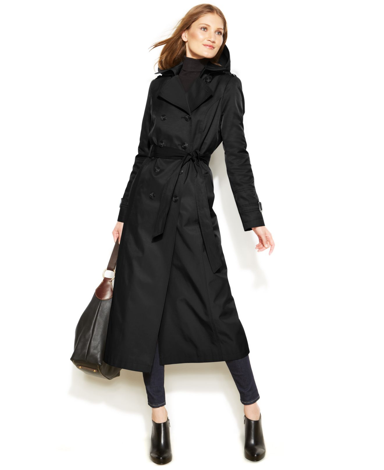 Dkny Petite Hooded Double-Breasted Maxi Trench Coat in Black | Lyst