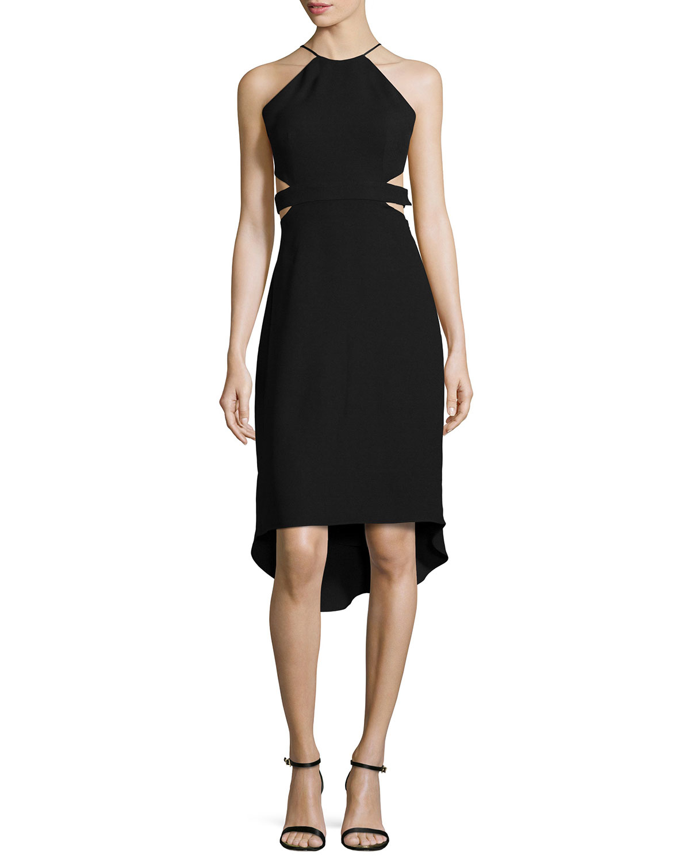 364393e827d Lyst - Halston Halter Back-cutout Cocktail Dress in Black