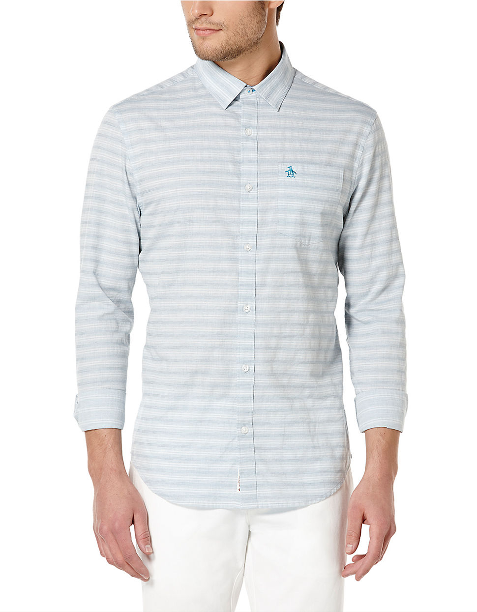 Lyst original penguin slim fit horizontal stripe for Horizontal striped dress shirts men