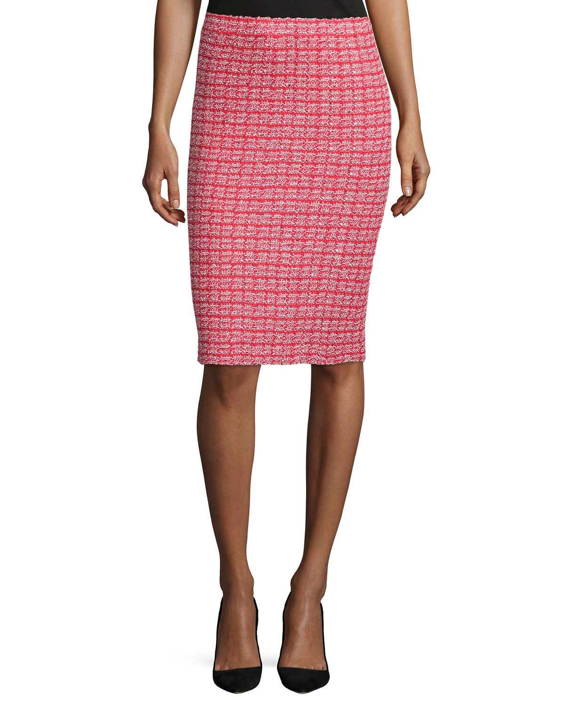 Lyst - St. john Boho Knit Tweed Pencil Skirt in Red