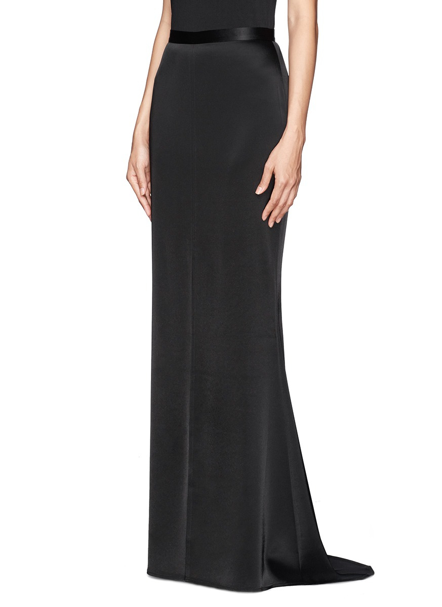 St. john Liquid Satin Flare Maxi Skirt in Black | Lyst