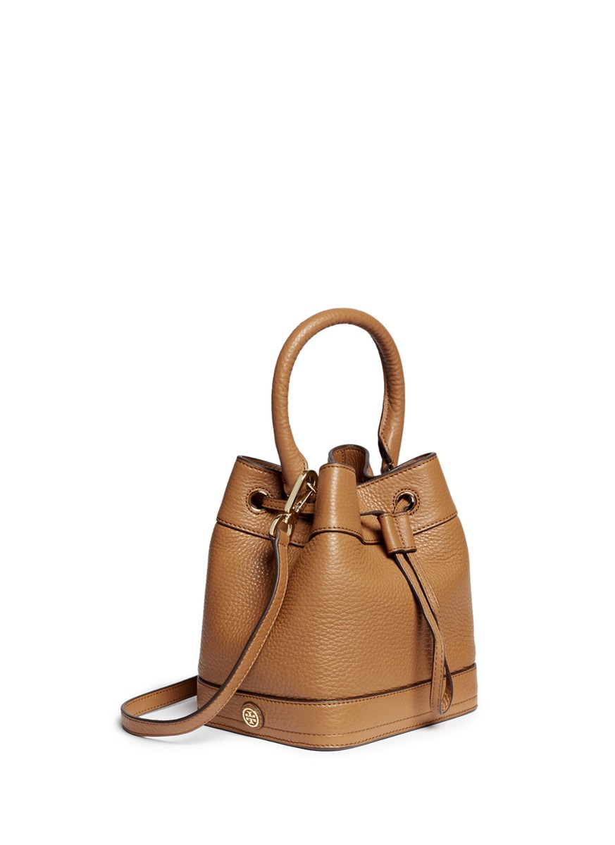 c3022321a6f Tory Burch  robinson  Leather Bucket Bag in Brown - Lyst