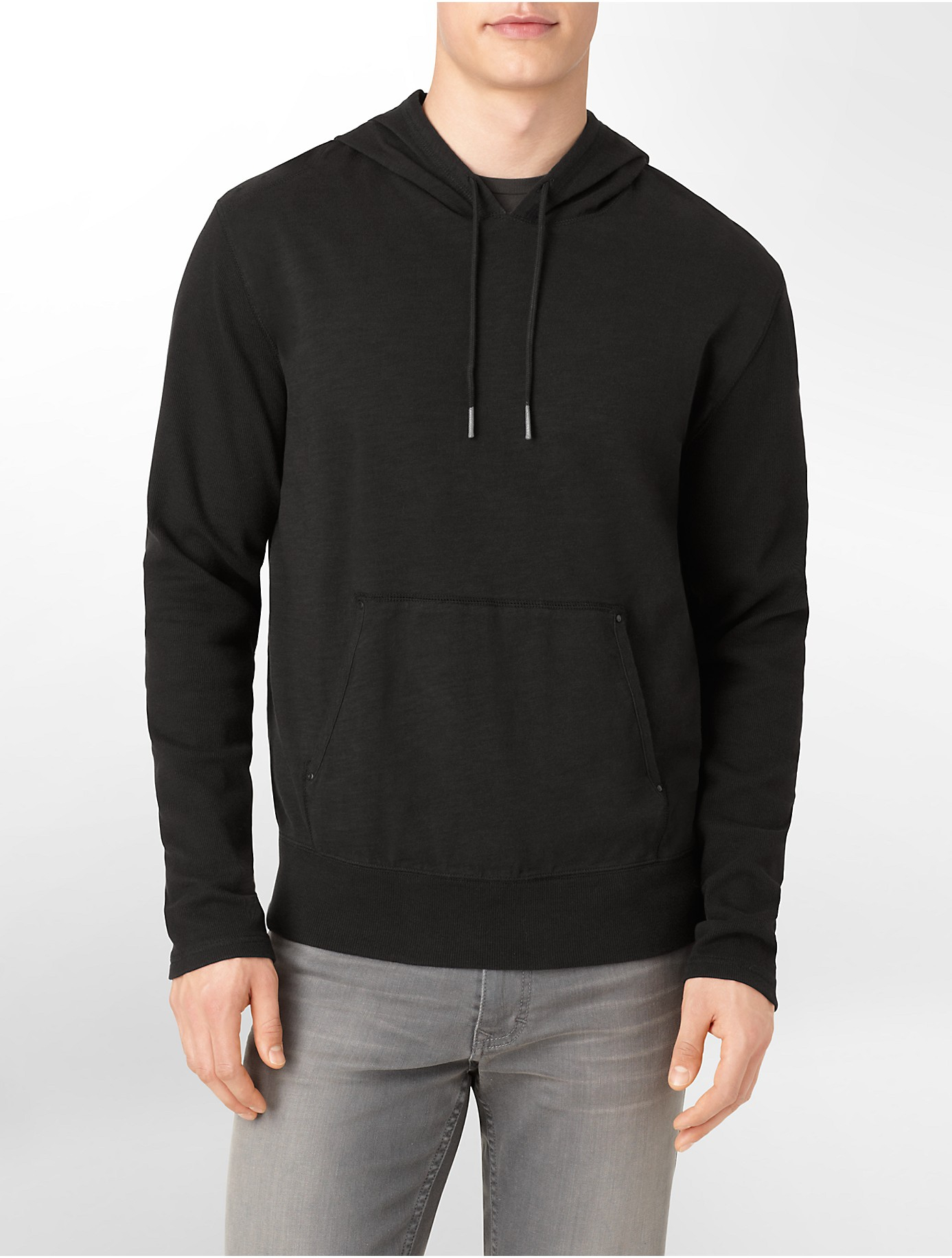 calvin klein jeans solid cotton slub hoodie in black for. Black Bedroom Furniture Sets. Home Design Ideas