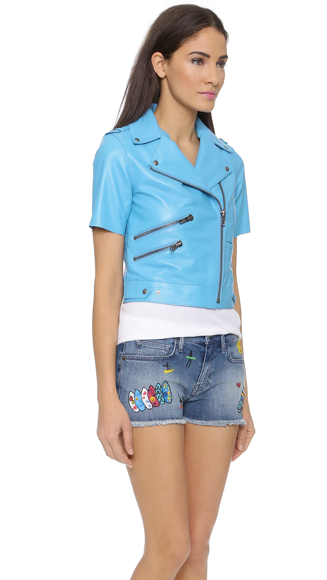 Mira mikati Short Sleeve Leather Jacket - Light Blue in Blue | Lyst