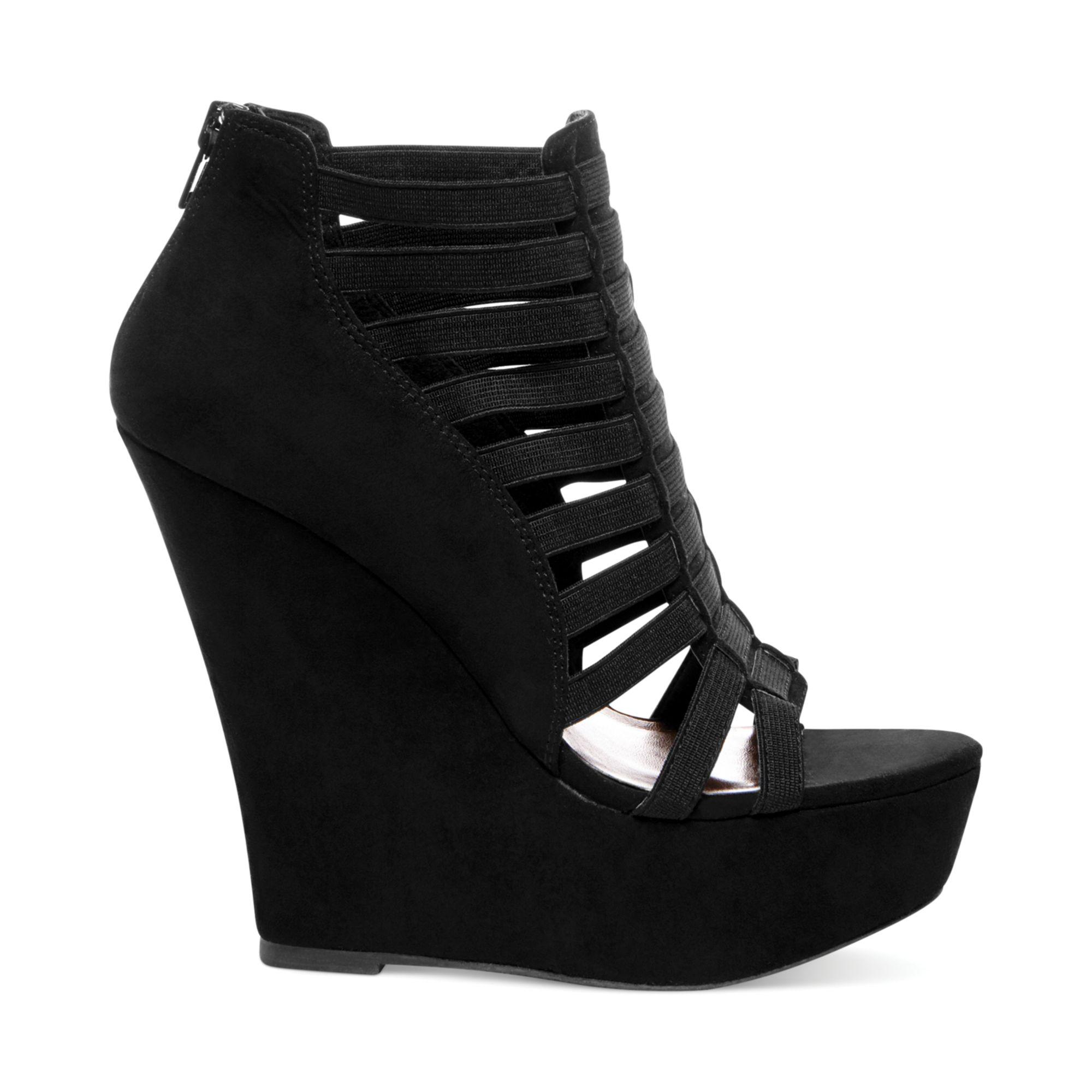 Black Platform Wedge Heels - Is Heel