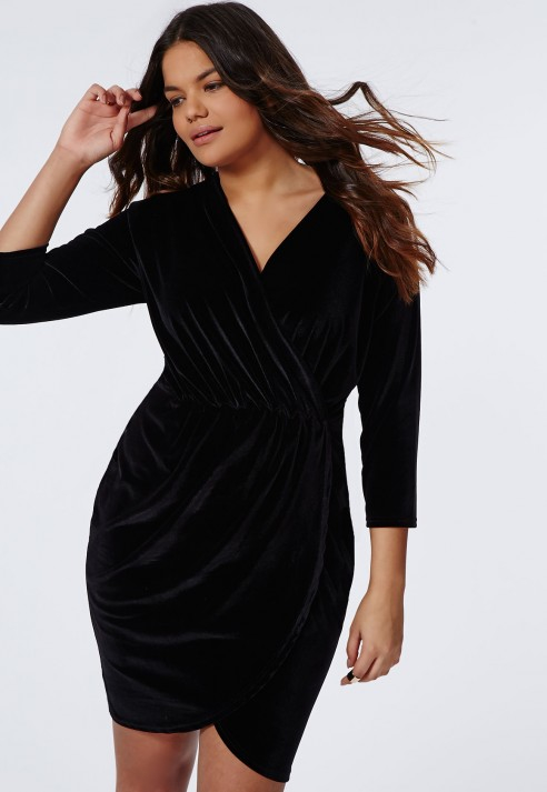 Missguided Plus Size Velvet Wrap Dress Black in Black | Lyst