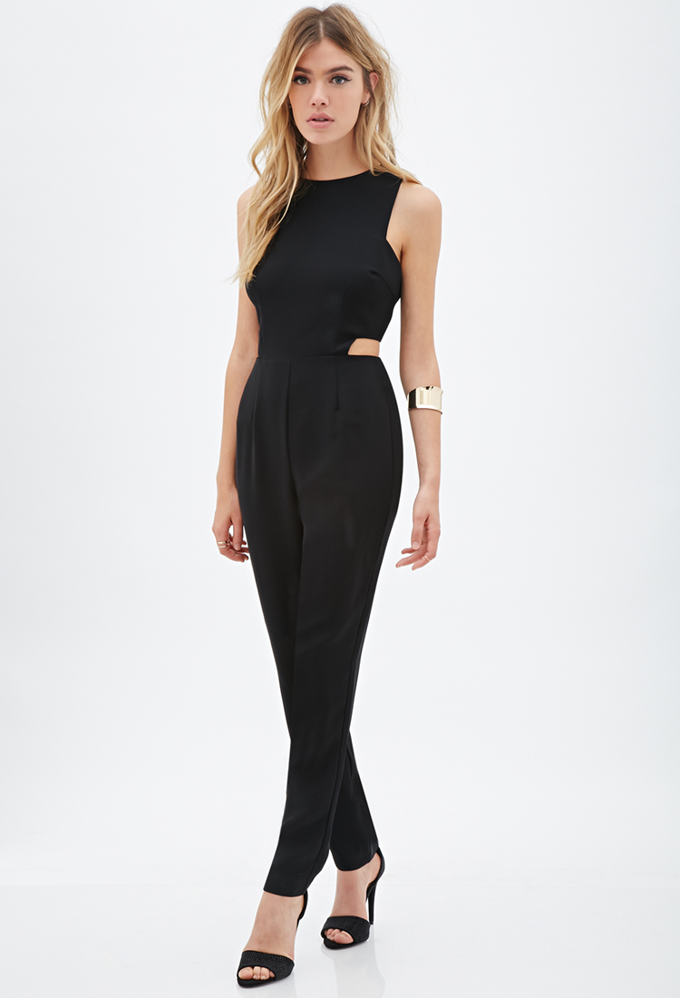 9a6f0a3fad4 Lyst - Forever 21 Cutout Sleeveless Jumpsuit in Black