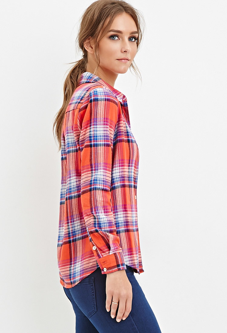 Lyst Forever 21 Tartan Flannel Shirt In Orange