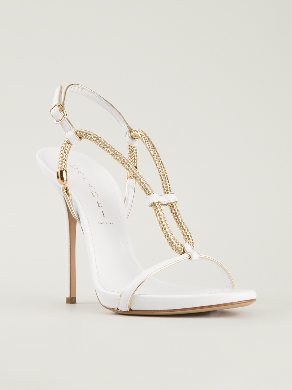 31024b440 Lyst - Casadei Strappy Chain Sandals in Metallic