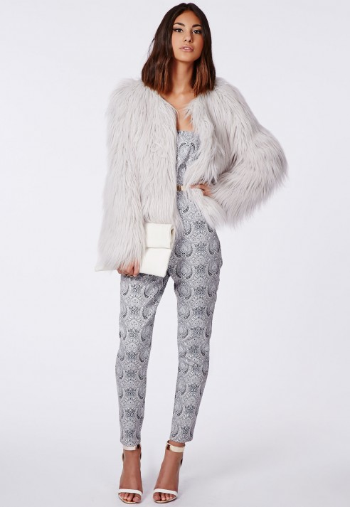 2ae28423c28d2 Lyst - Missguided Cassie Shaggy Faux Fur Coat Grey in Gray