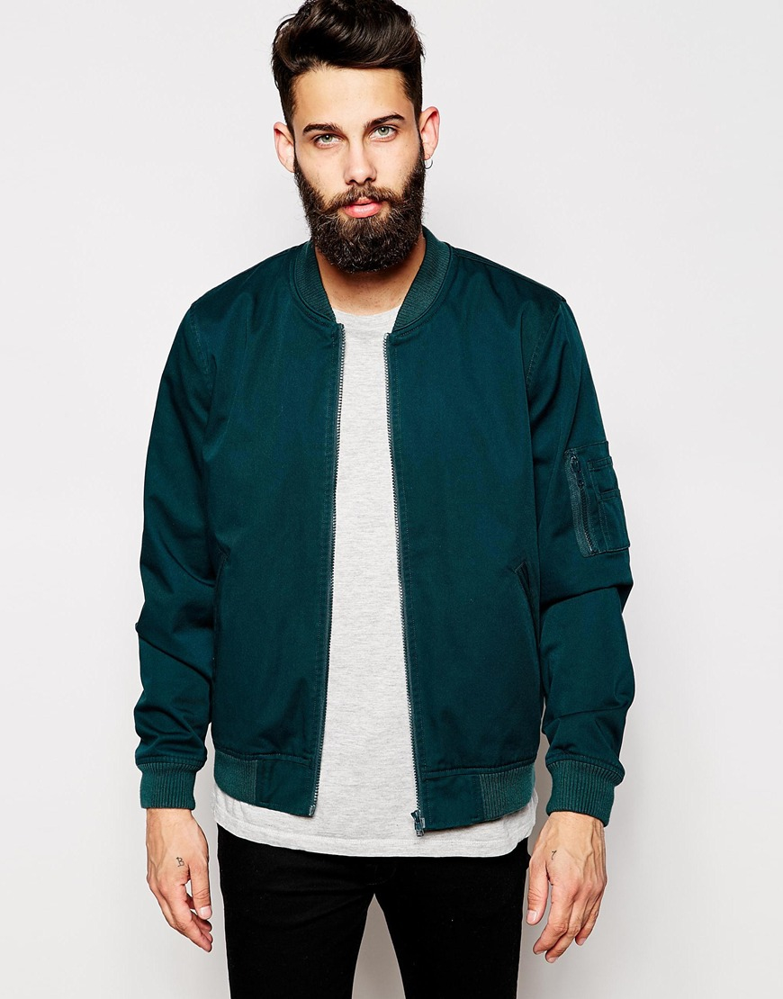 Lyst Asos Bomber Jacket In Teal In Blue For Men