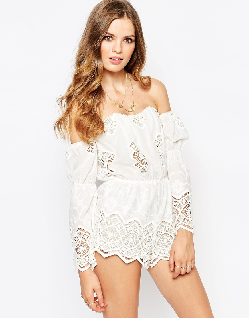 Stone Cold Fox Ryder White Lace Playsuit In White Lyst