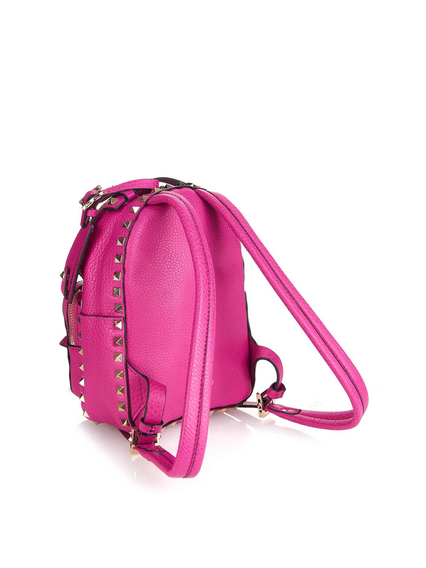 Valentino Rockstud Leather Mini Backpack in Pink | Lyst