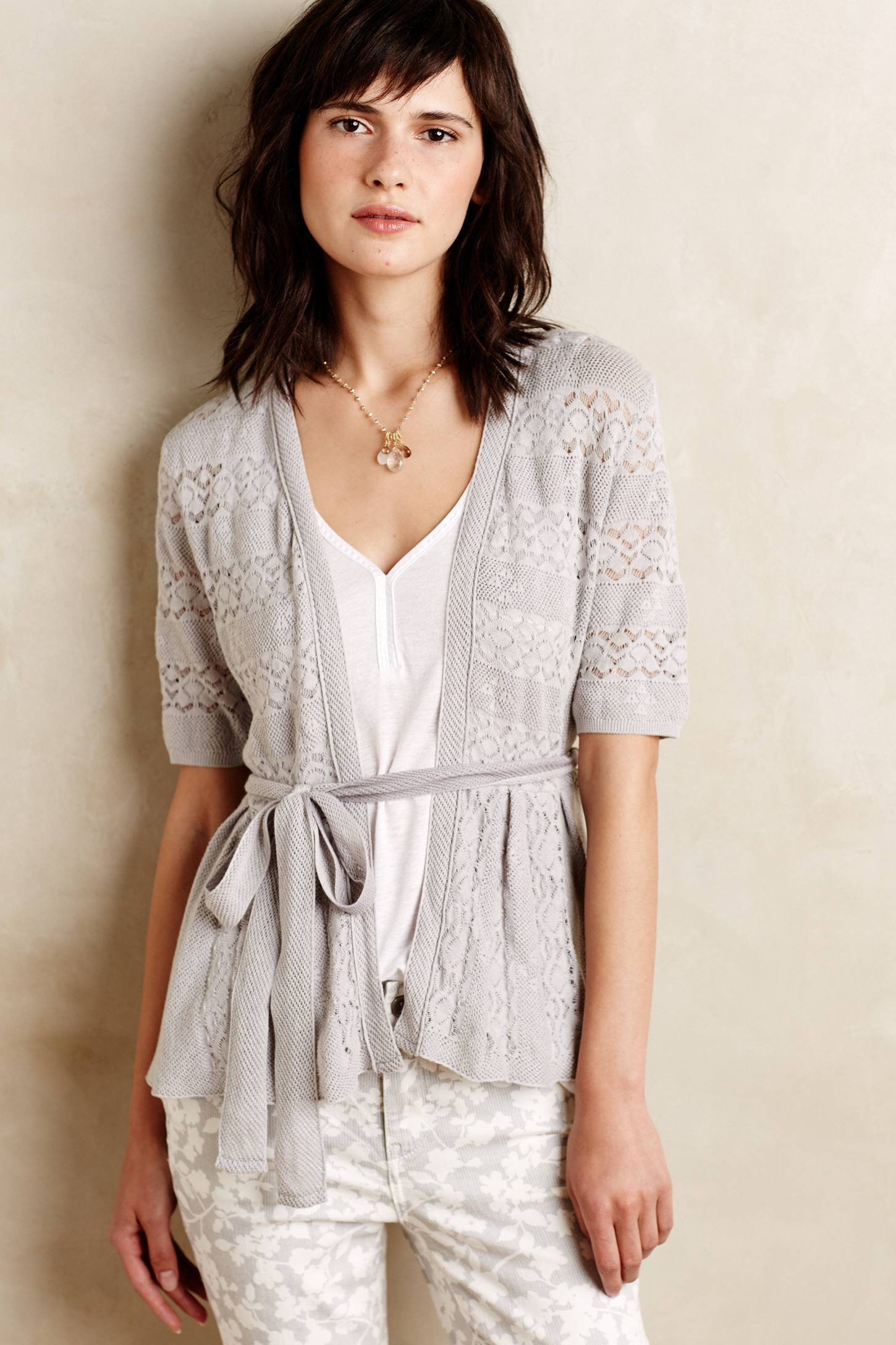 Knitted & knotted Lace Stitch Cardigan in Gray | Lyst