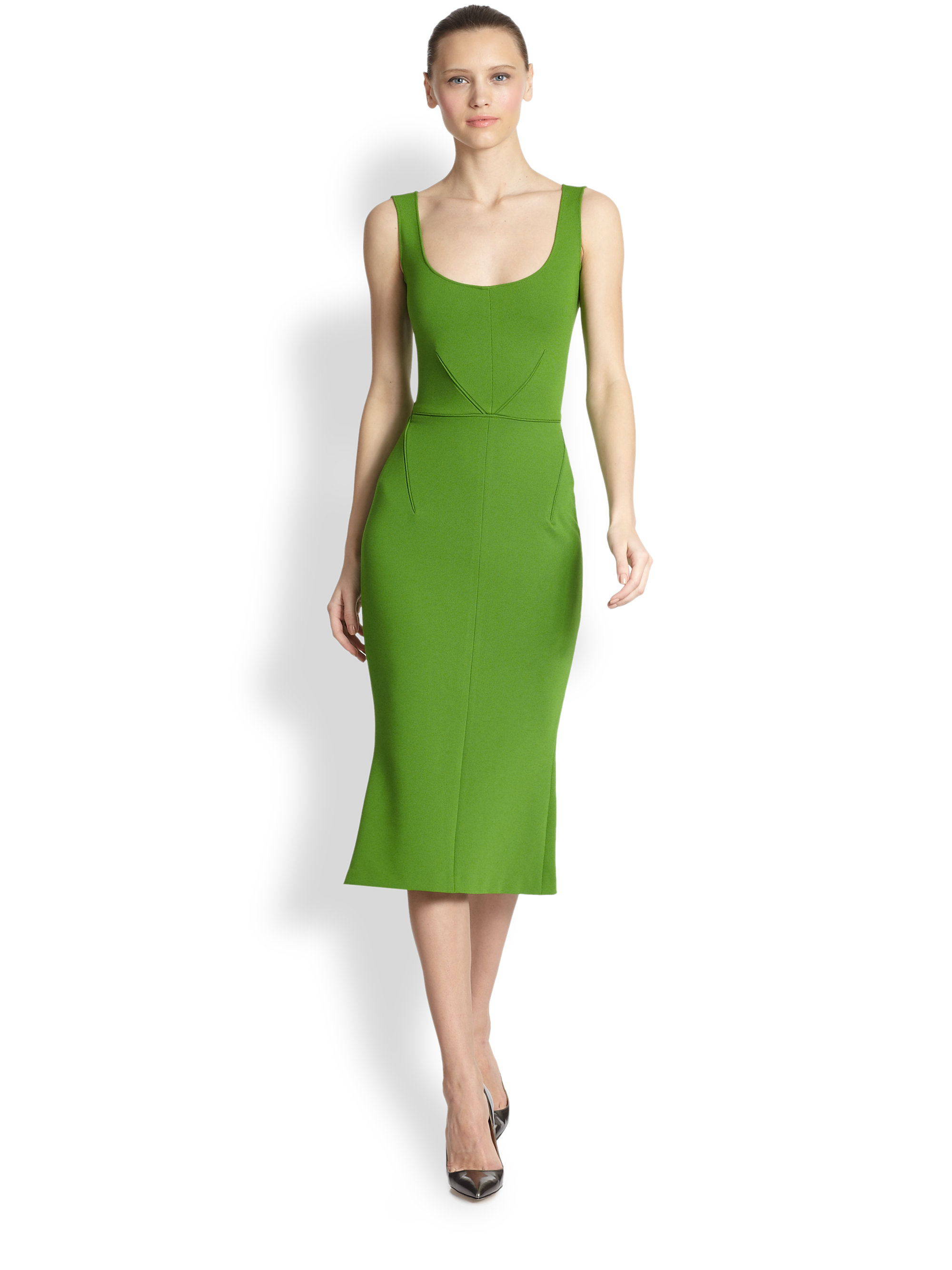 Zac Posen Sleeveless Flared Midi Dress In Green Grass Lyst