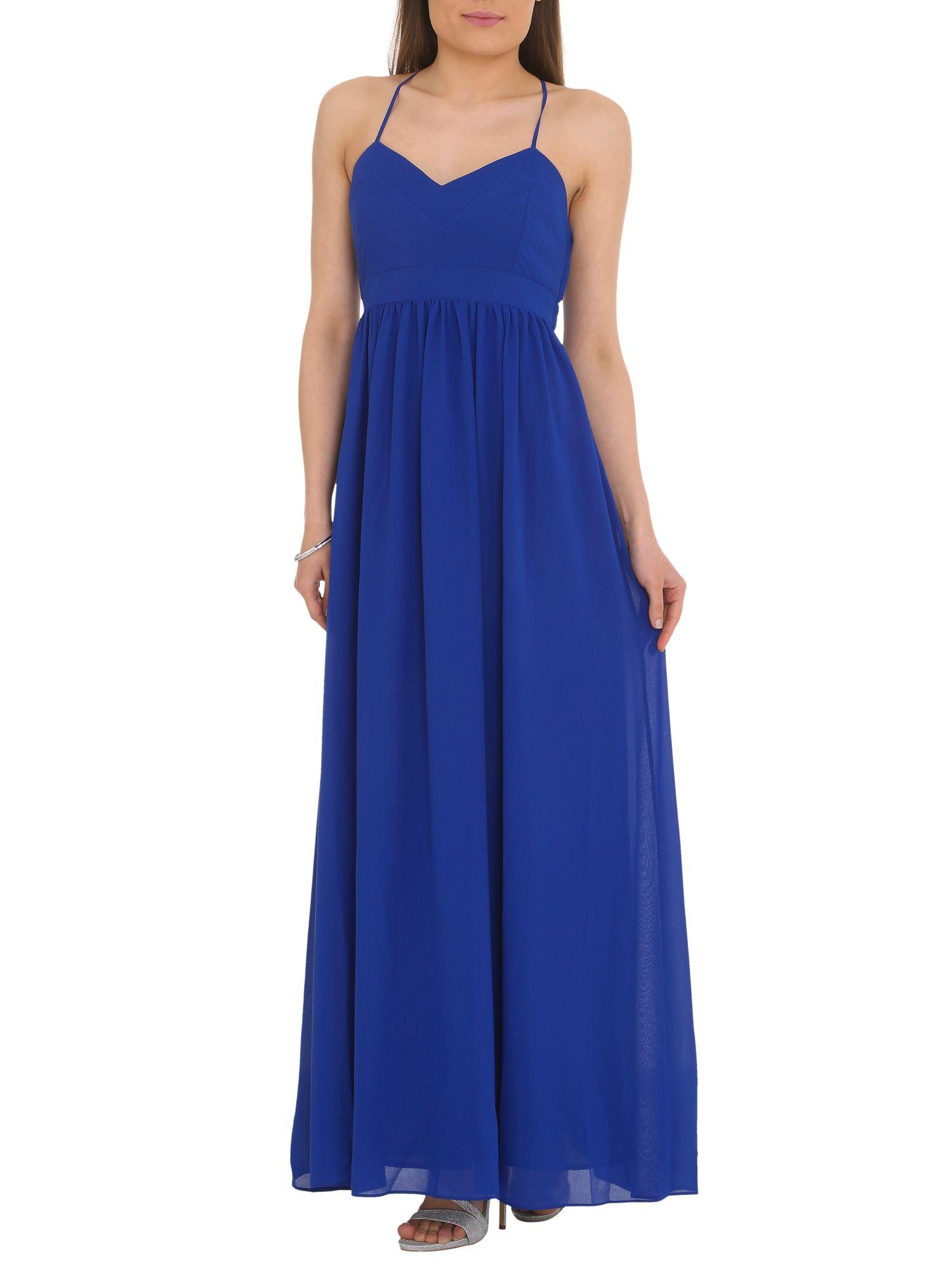 Badgley mischka Chiffon Maxi Dress in Blue (Cobalt) | Lyst