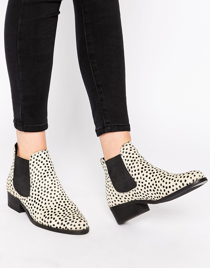 watch a2d36 cca26 Warehouse Animal Print Leather Chelsea Boots in Black - Lyst