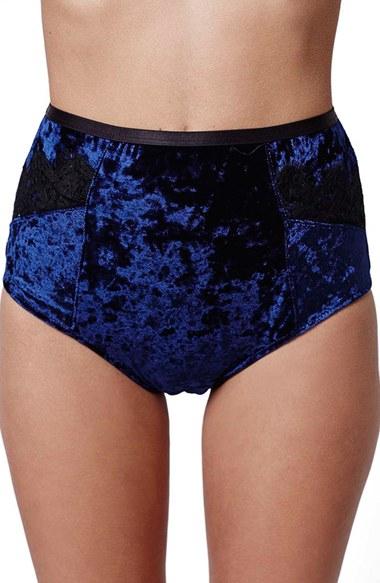 e7d5d9eff07a TOPSHOP Lace Trim High Rise Velvet Panties in Blue - Lyst