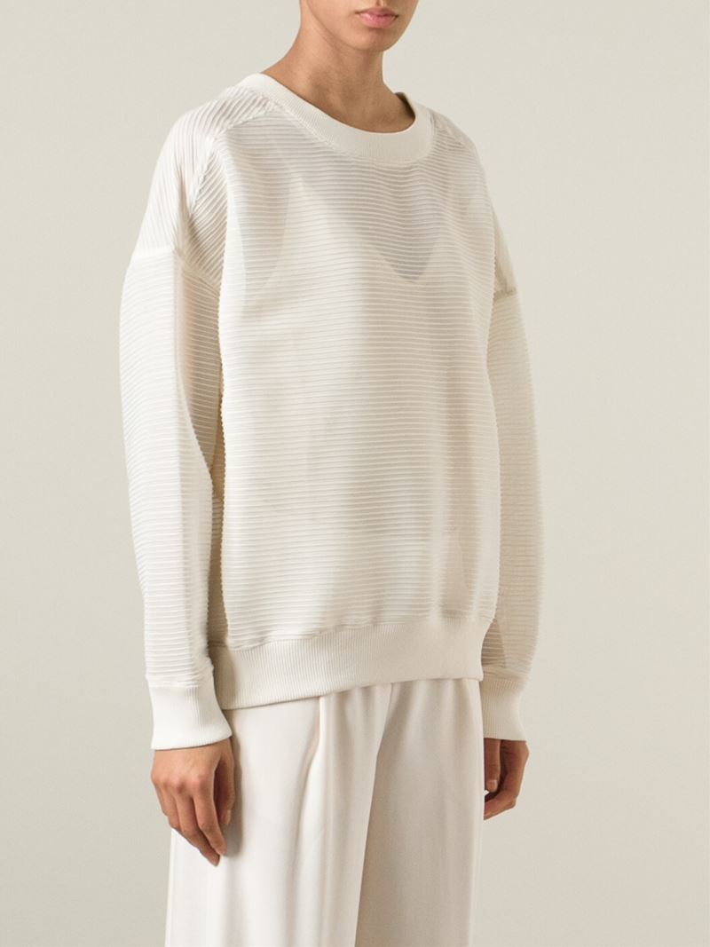 Dkny Oversize Sheer Sweater in Natural | Lyst