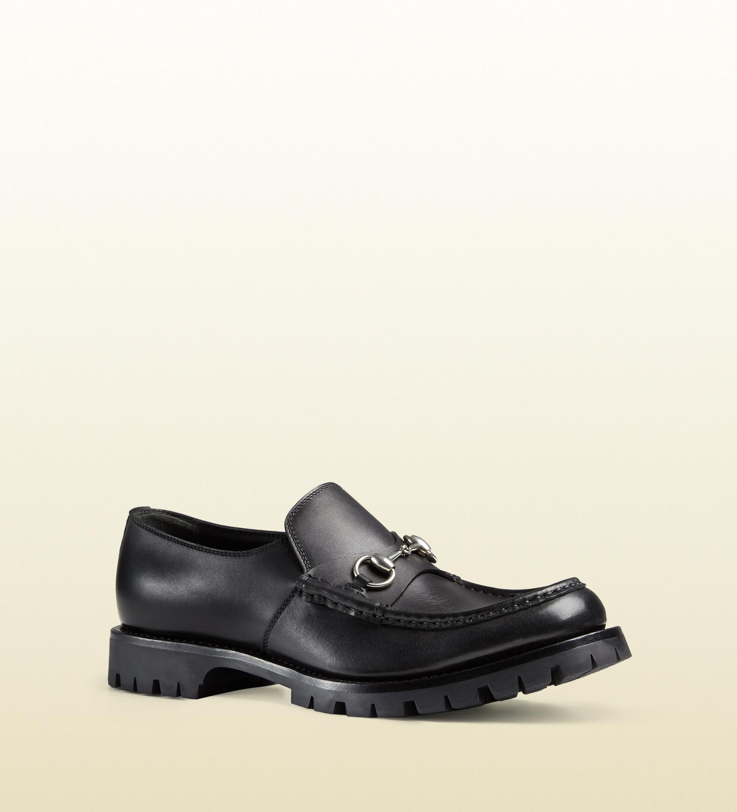 8bbe2634b61f Lyst - Gucci Men s Leather Lug Sole Horsebit Loafer in Black for Men