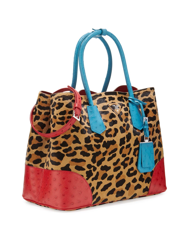 prada purse cheap - Prada Calf Hair & Ostrich Medium Double Tote Bag in Multicolor | Lyst
