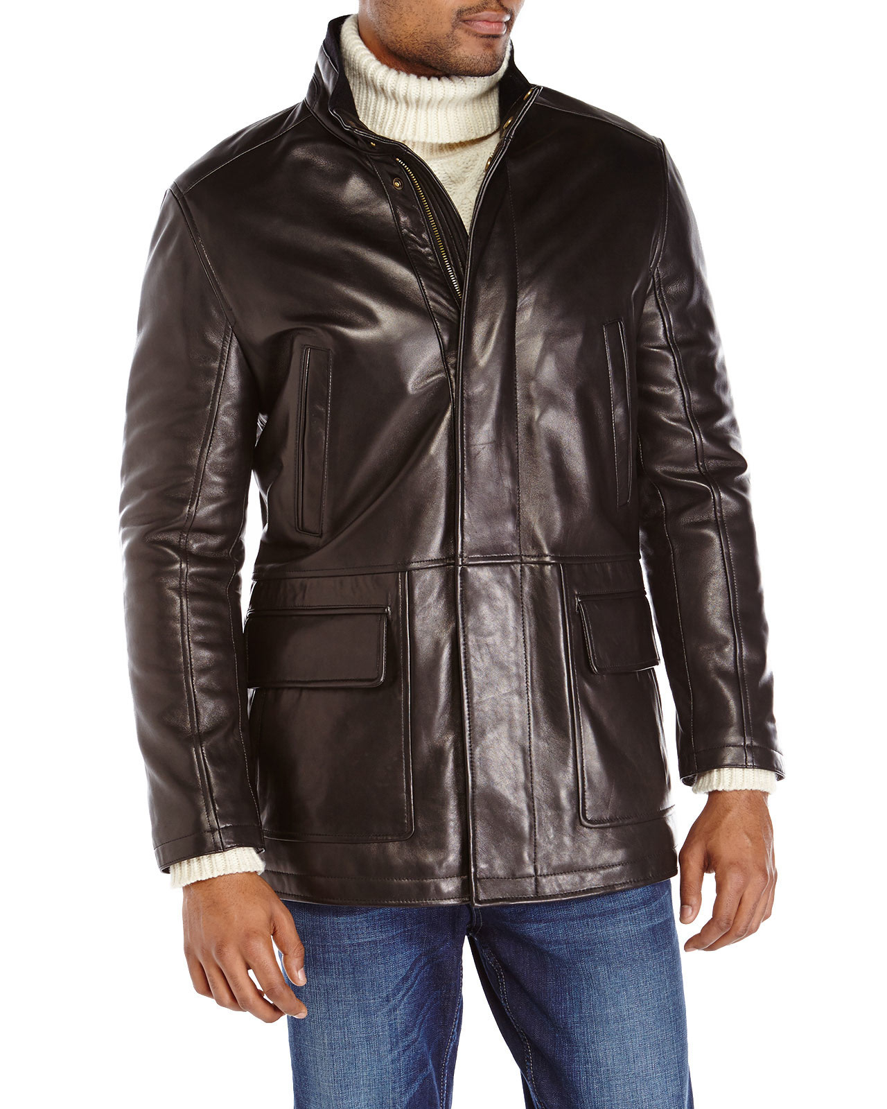 Cole haan Black Leather Car Coat in Black for Men | Lyst