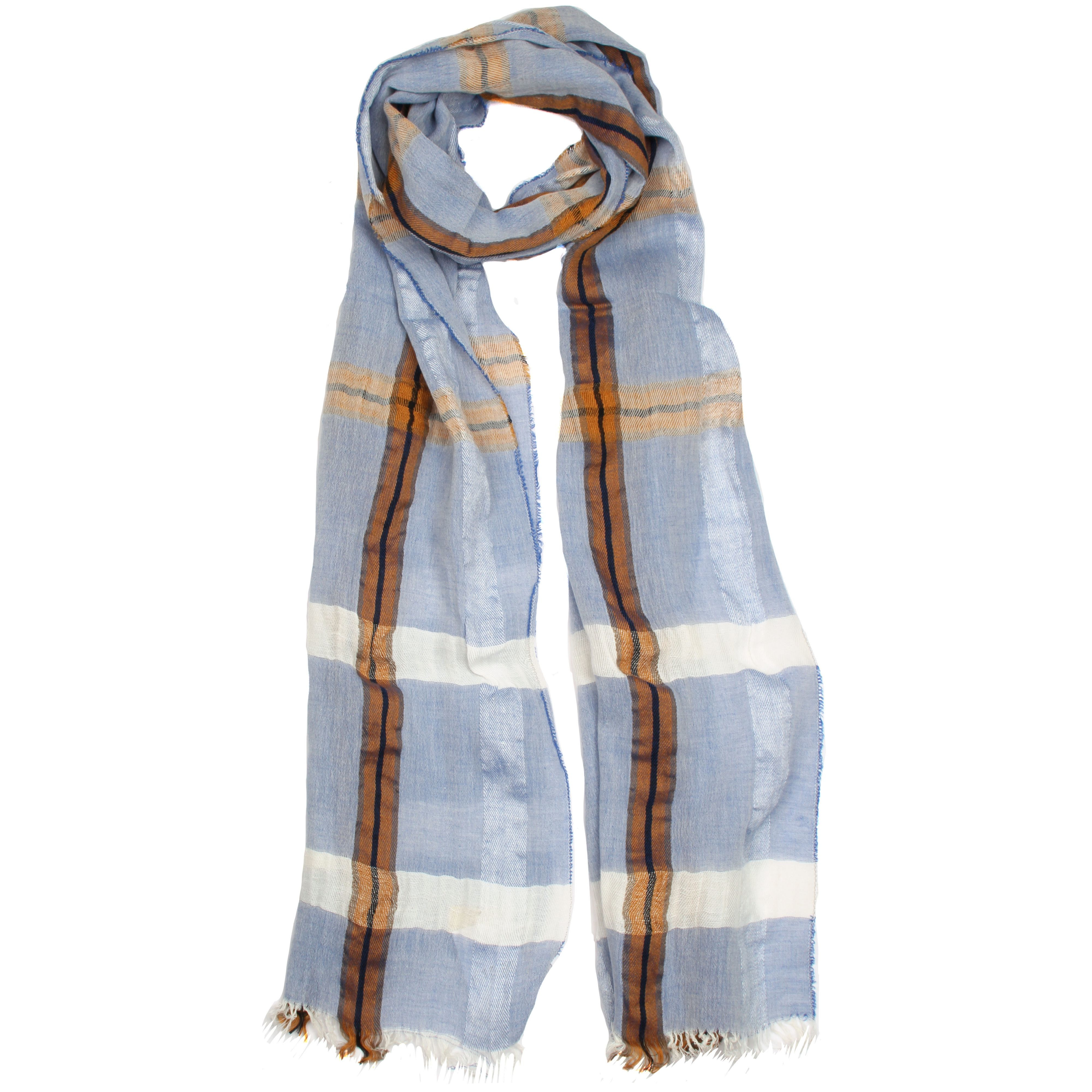 dents classic check woven scarf in blue lyst