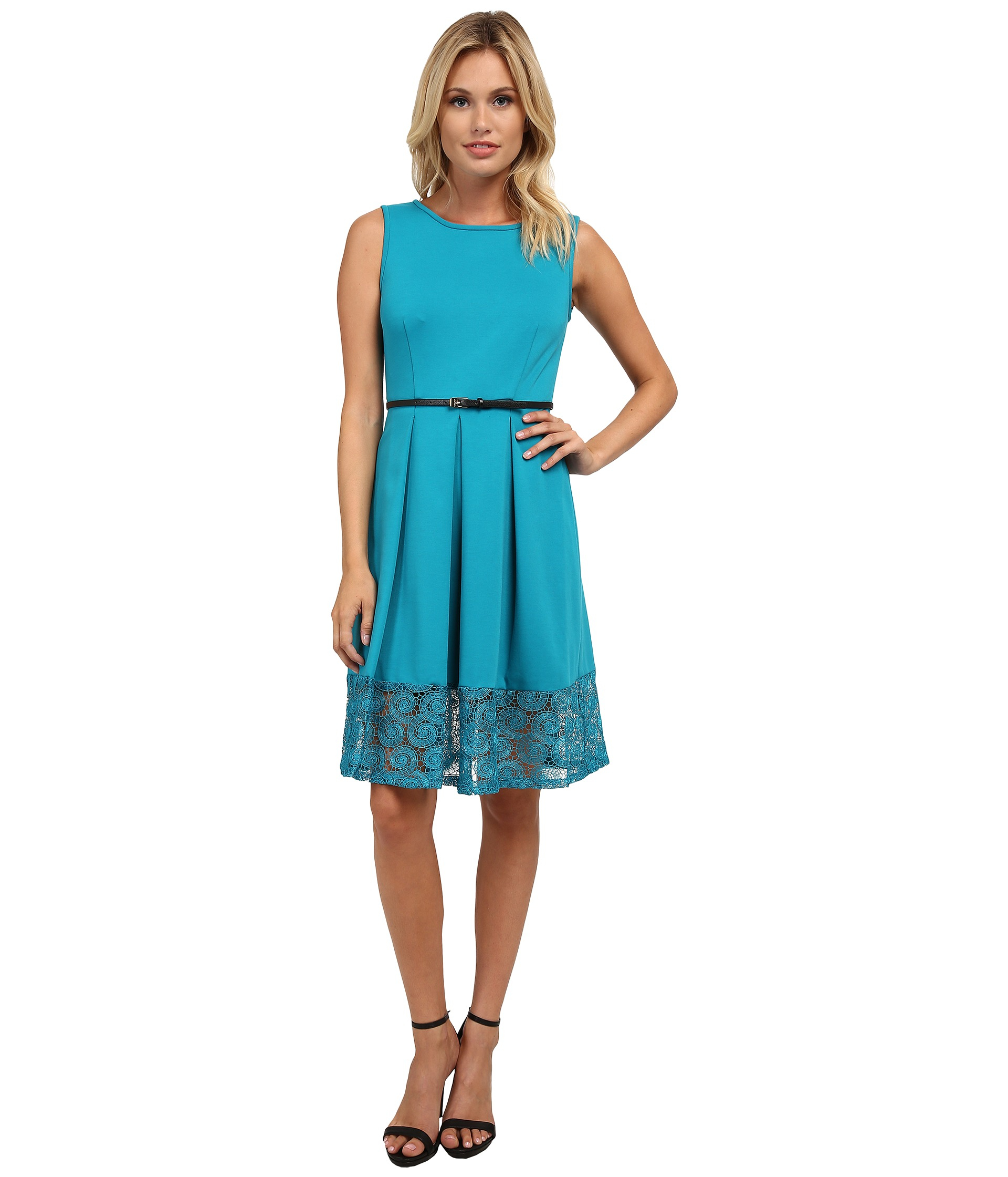 Lyst - Calvin Klein Fit & Flare Dress W/ Lace Bottom in Green