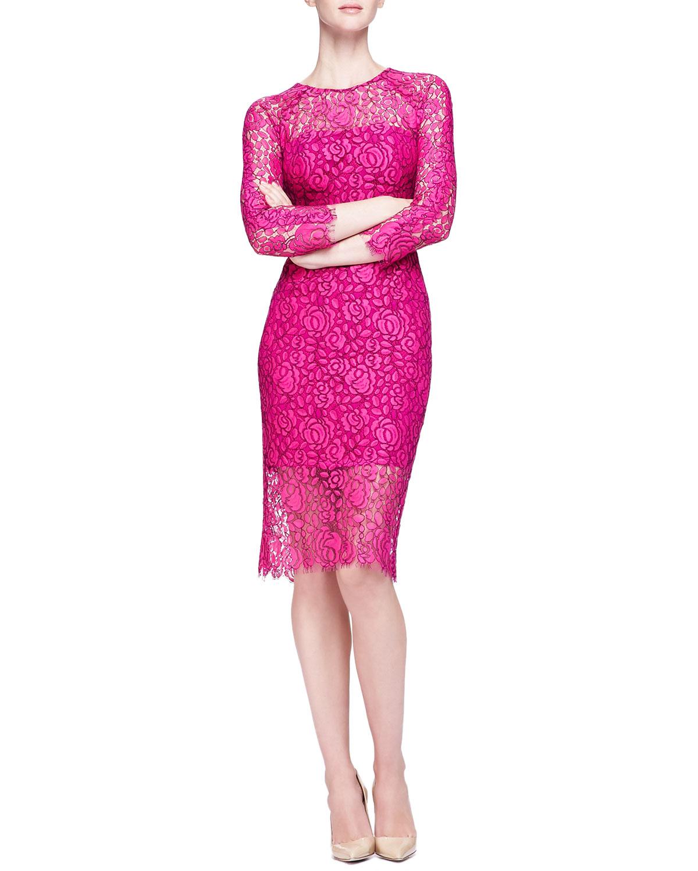 Lela rose Long-Sleeve Lace Sheath Dress in Pink   Lyst