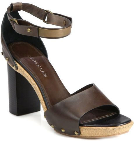 Derek Lam Koda Studded Leather Clog Sandals in Brown - Lyst