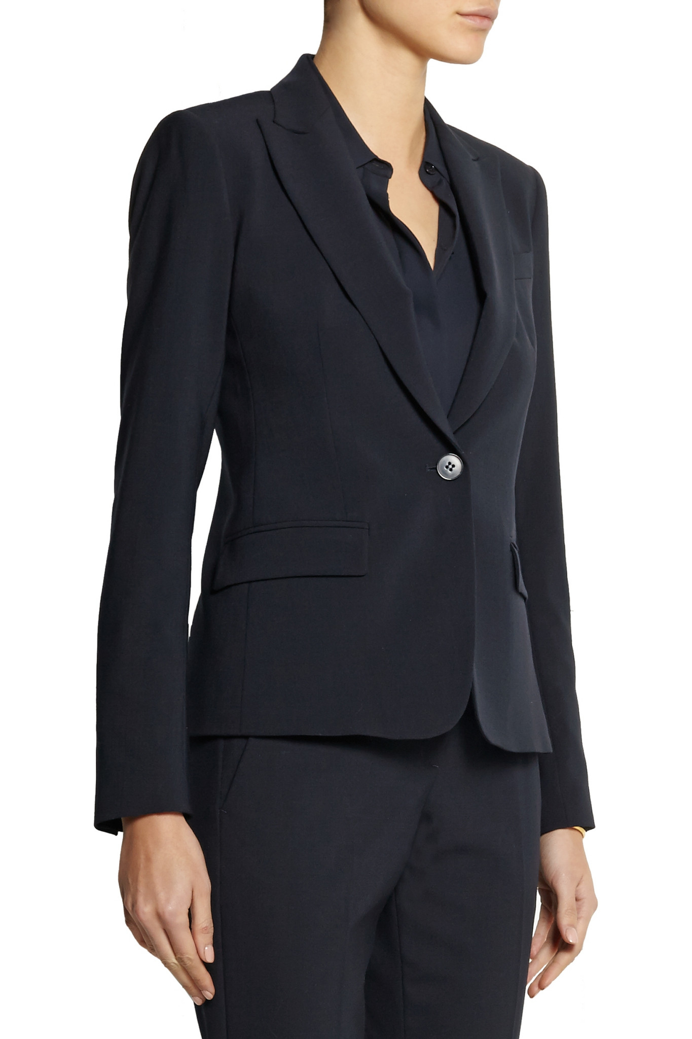 Theory Stretch Crepe Blazer In Blue Navy Lyst